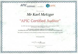 APIC Certificate Karl Metzger 2017